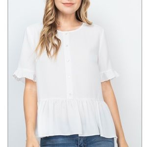 Ivory peplum blouse with button & ruffle detail